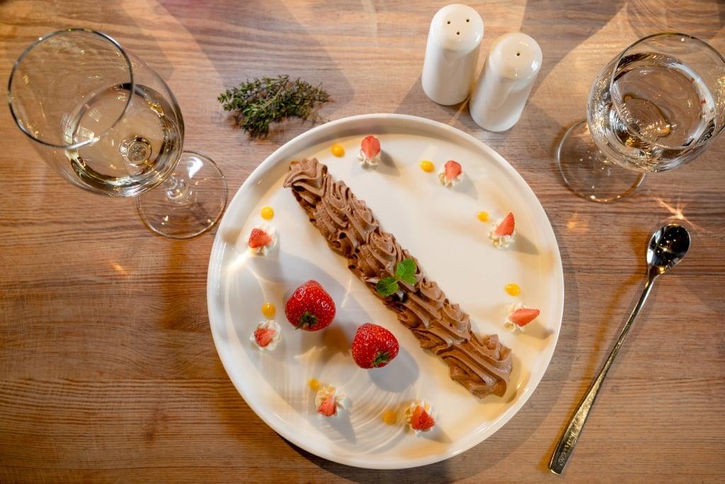 Chocomouse met aardbeien