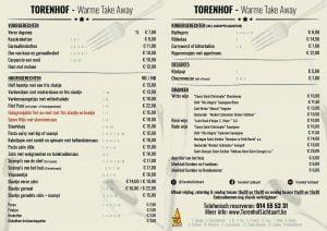 Torenhof Lichtaart Warme take-away menu 2021